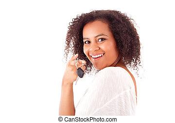 gyönyörű woman, kulcs, autó, birtok, afrikai