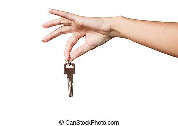 gyönyörű woman, kulcs, kéz