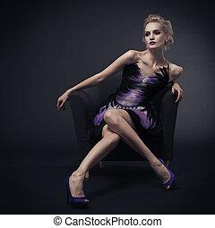 gyönyörű woman, lövés, ülés, kép, pazar, műterem, chair.