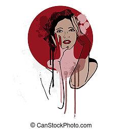 gyönyörű, woman., mód, illustration.