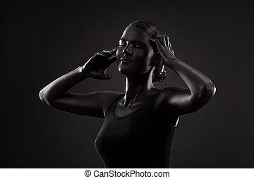 gyönyörű woman, művészet, fénykép, fekete, konfekcionőr