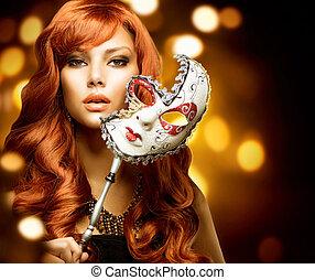 gyönyörű woman, maszk, farsang