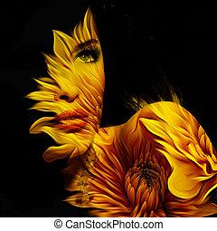 gyönyörű woman, megkettőz, fiatal, képzelet, portré, kitevés