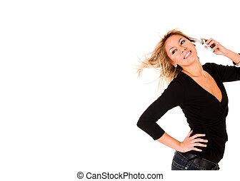 gyönyörű woman, mozgatható, fiatal, hívás, telefon