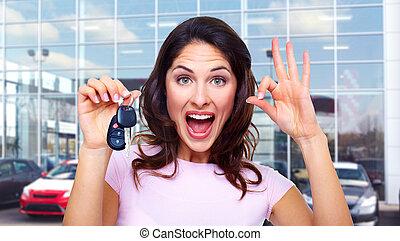 gyönyörű woman, noha, egy, autó, key.