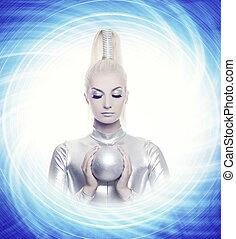 gyönyörű woman, noha, egy, ezüst, labda