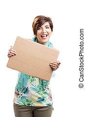 gyönyörű woman, noha, egy, kartonpapír
