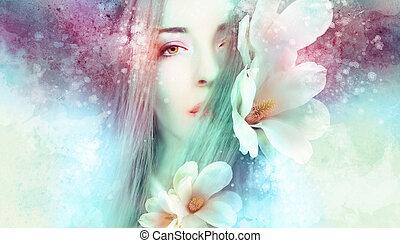 gyönyörű woman, noha, magnólia, artwo