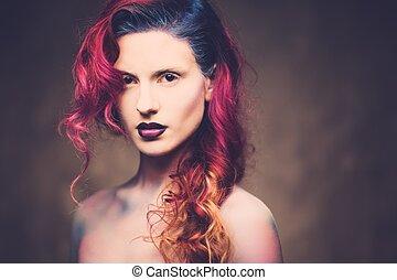 gyönyörű woman, noha, pazar, galaktika, haj