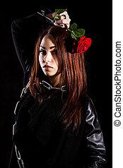 gyönyörű woman, rózsa, fiatal, bilincsbe ver, piros