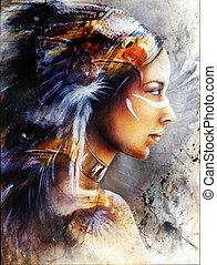gyönyörű woman, sas, nulla, american indian, festmény, ...