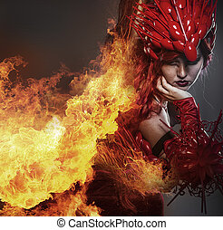 gyönyörű woman, steampunk, mérleg, felfegyverez, öltözött, elbocsát, sárkány, leány, piros