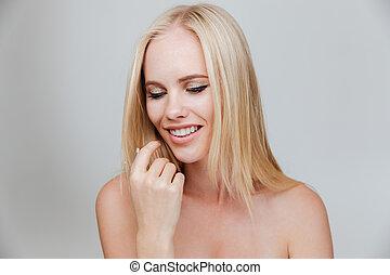 gyönyörű woman, szépség, fiatal, portré, mosolygós