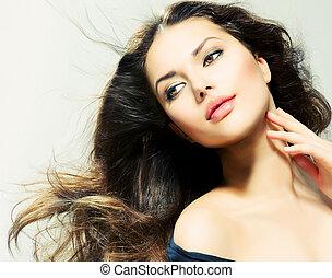 gyönyörű woman, szépség, hosszú, barna nő, hair., portré, leány