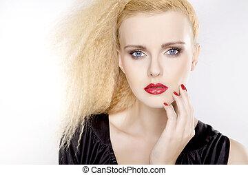 gyönyörű woman, szőke, szőr, fiatal, meglehetősen