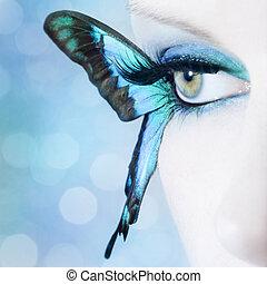 gyönyörű woman, szem, elzáródik