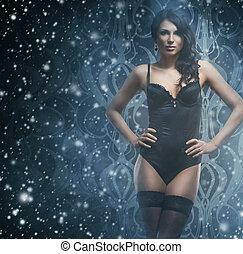 gyönyörű woman, tél, havas, felett, fiatal, női fehérnemű, háttér, szexi
