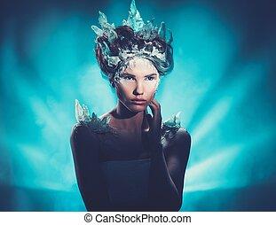 gyönyörű woman, tél, szépség, fagyasztott, alkat, fiatal, képzelet, mód, portrait., formál, leány, hairstyle.