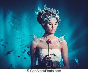 gyönyörű woman, tél, szépség, fagyasztott, rose., fiatal, képzelet, portrait., formál, légnyomás, leány