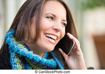 gyönyörű woman, telefon