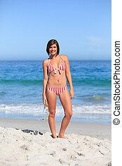 gyönyörű woman, tengerpart