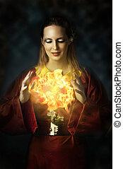 gyönyörű woman, yong, -, portré, tündér