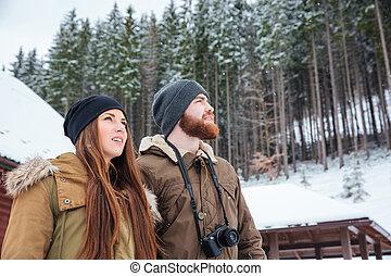 gyönyörű, young párosít, álló, és, élvez, tél, erdő
