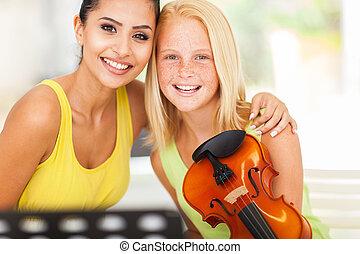 gyönyörű, zene tanár, noha, hegedű, diák