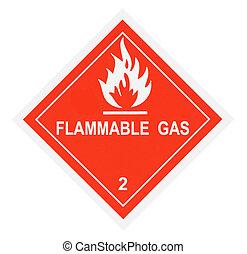 gyúlékony, figyelmeztetés, gáz, címke