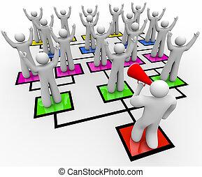 gyülekezés, seregek, -, diagram, bullhorn, org, vezető