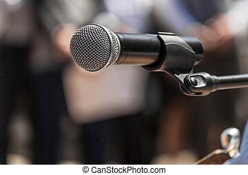 gyülekezik, mikrofon, closeup