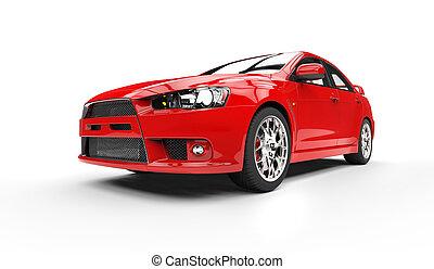 gyülekezik, piros autó