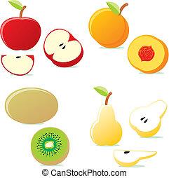 gyümölcs, ábra, elszigetelt, ikon, vektor