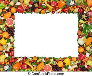gyümölcs, és, növényi, keret