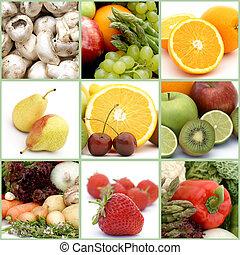 gyümölcs, és, növényi, kollázs