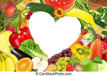 gyümölcs, és, növényi, szív alakzat, keret