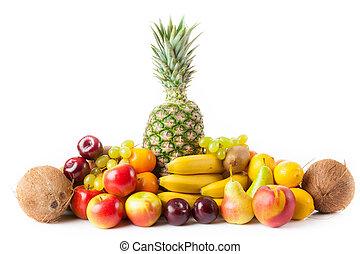 gyümölcs, elszigetelt, white