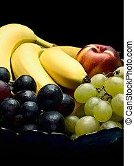 gyümölcs, friss, tál