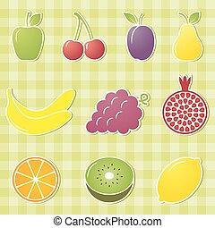 gyümölcs, icons., vektor, illustration.