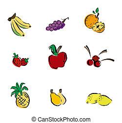 gyümölcs, ikonok
