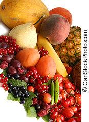 gyümölcs, képben látható, a, asztal., halk élet