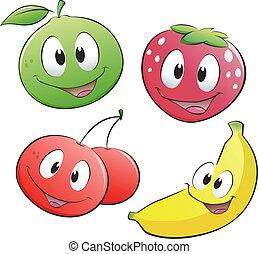 gyümölcs, karikatúra