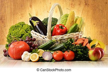 gyümölcs növényi, alatt, wicker kosár