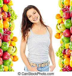 gyümölcs, növényi, nő
