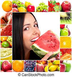 gyümölcs, nő
