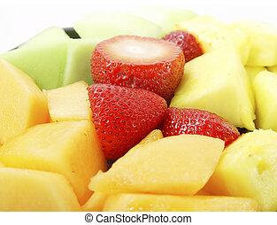 gyümölcs pecsenyéstál