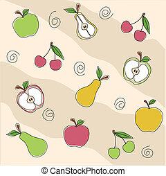 gyümölcs, seamless, struktúra