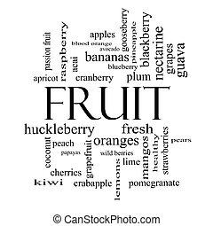 gyümölcs, szó, felhő, fogalom, alatt, fekete-fehér