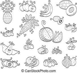 gyümölcs, szórakozottan firkálgat, bogyók