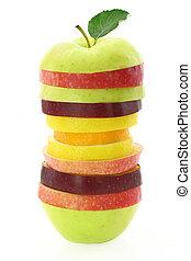 gyümölcs, szelet, helyett, egy, egészséges, táplálás